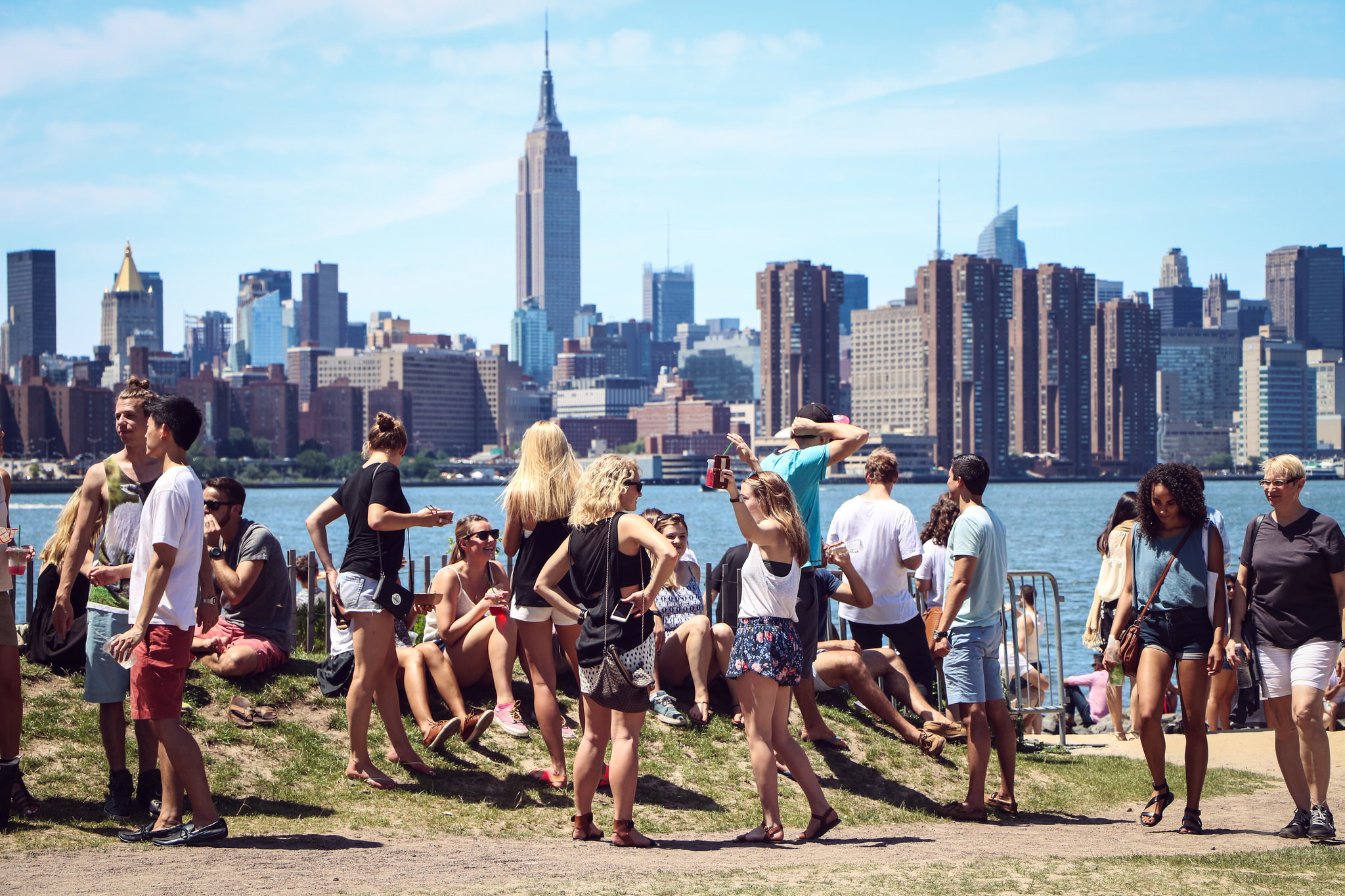 Smorgasburg on Saturdays has the best panoramic view of Manhattan