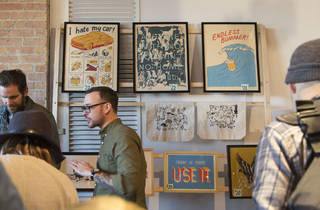 Holiday shoppers browsed a selection of handmade goods at the Renegade Craft Fair, December 5, 2015.