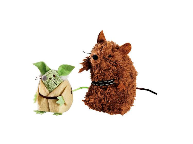 Star Wars ratones Yoda y Chewbacca para gato