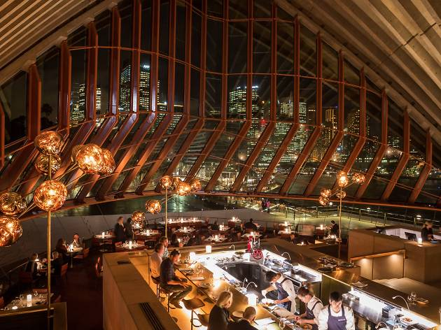An interior shot at Bennelong showing the centre bar surrounded