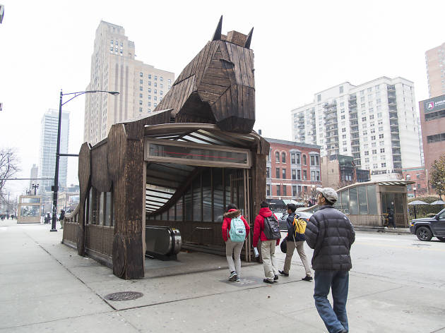The Field Museum's Trojan Horse sits atop an entrance to the Chicago Red Line station