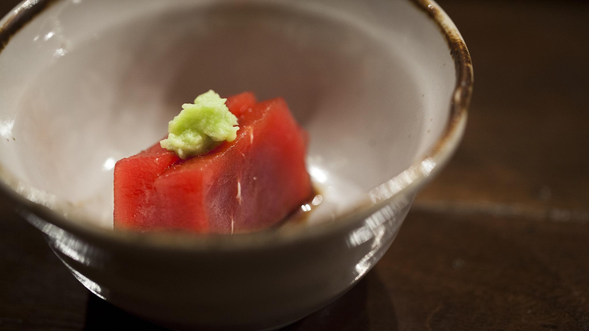 Fatty tuna with wasabi at Q Sushi
