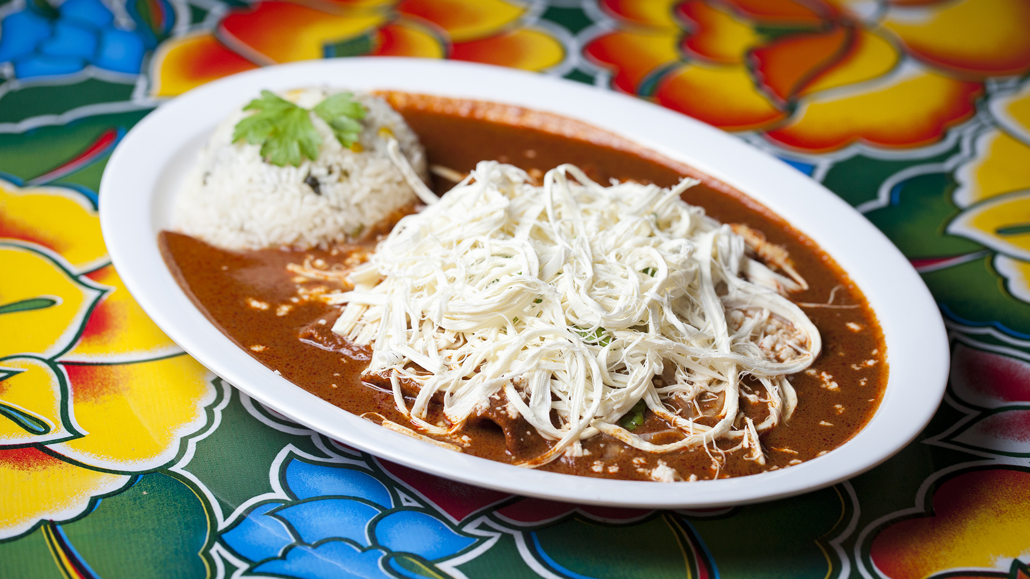 Enchiladas de Coloradito at Guelaguetza
