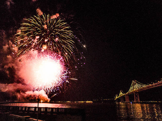 Fireworks over the San Francisco Bay