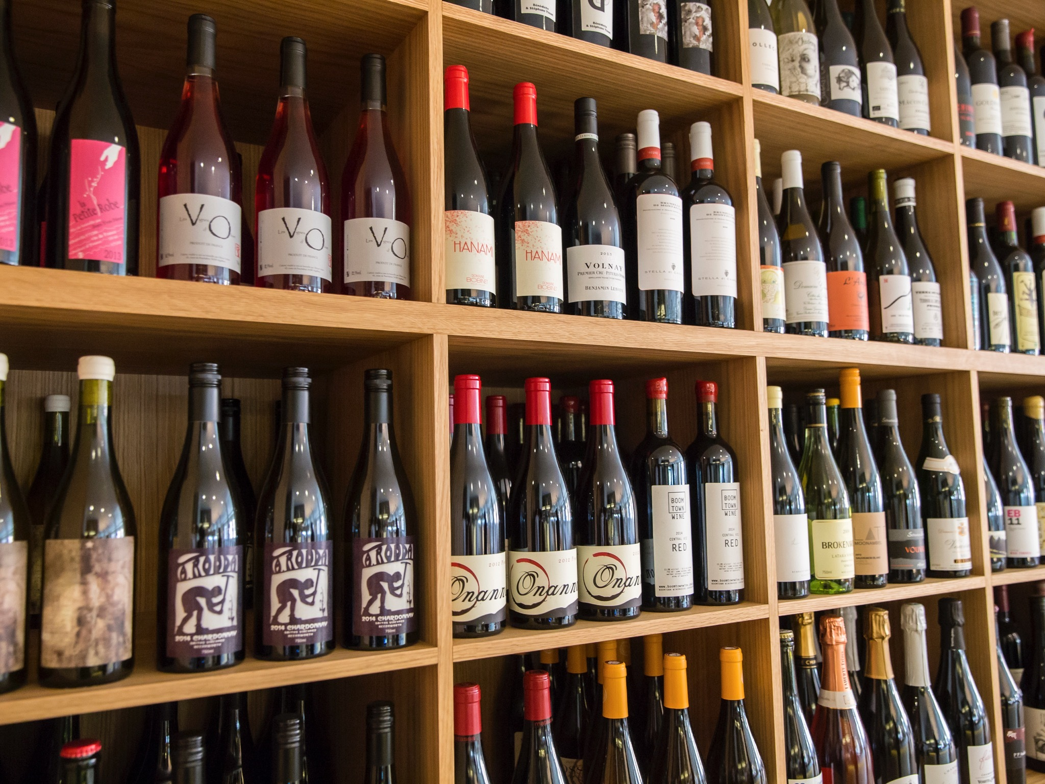 A selection of wines on shelving