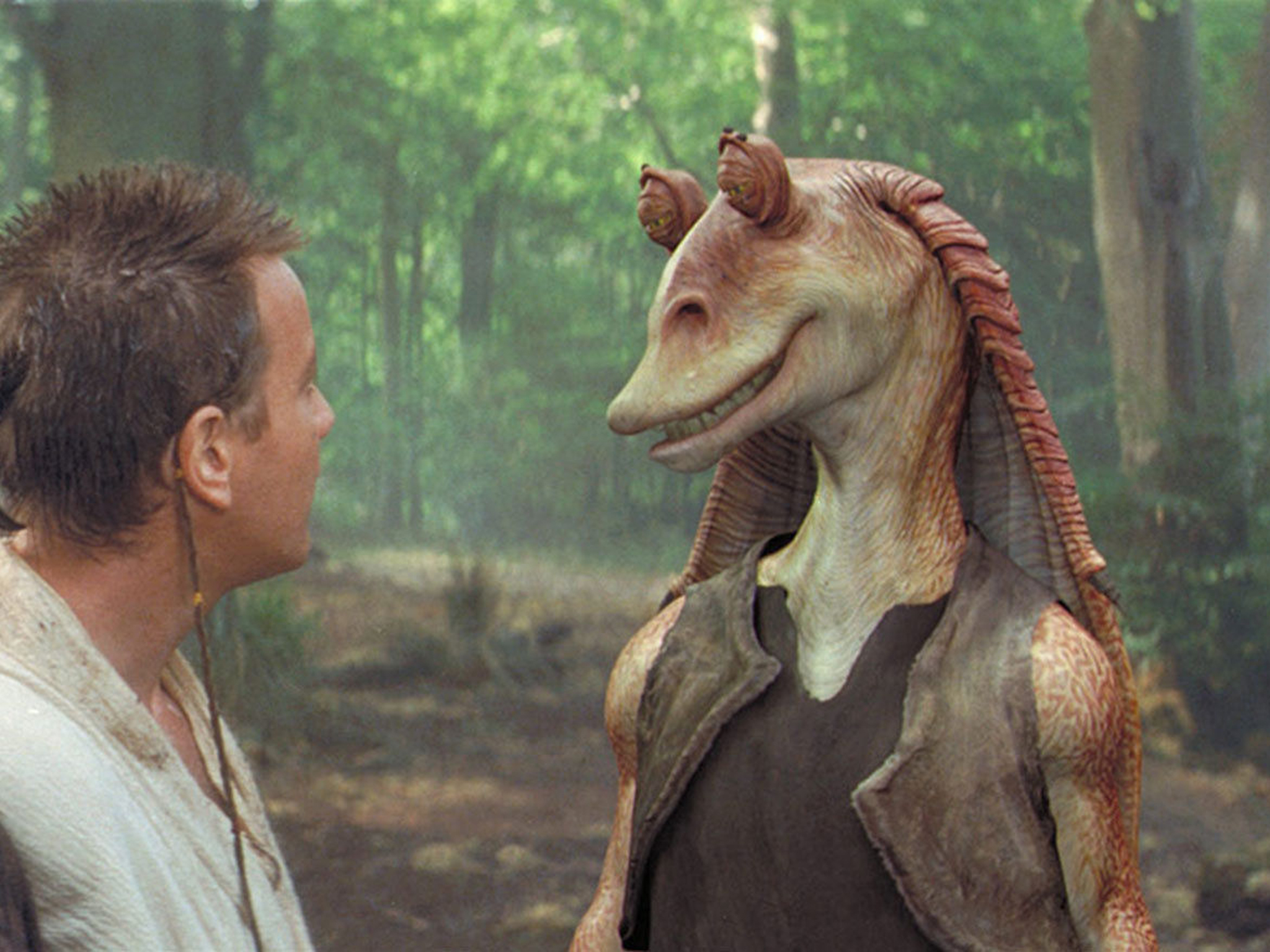 star wars - phantom menace, jar jar binks and obi wan kenobi