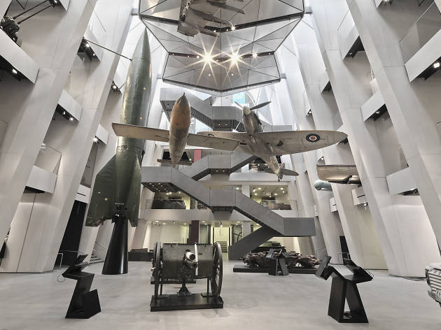 V1 flying bomb and V2 rocket at the Imperial War Museum