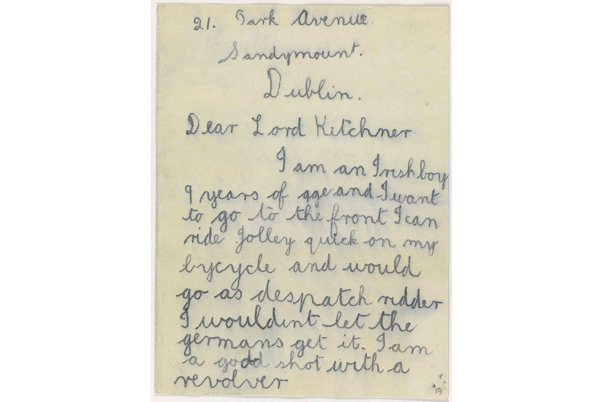 Letter to Lord Kitchener from the Imperial War Museum