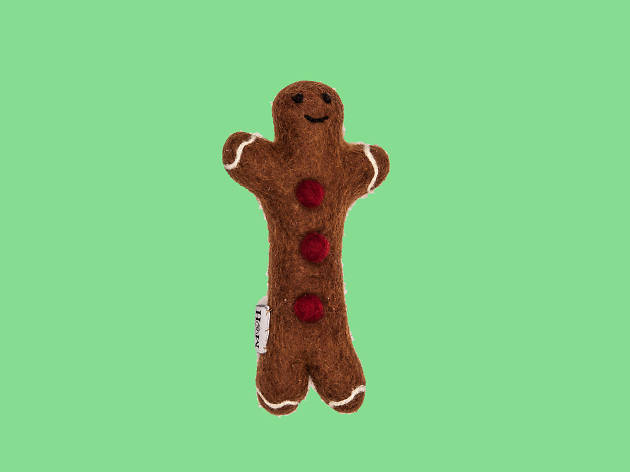 Gingerbread man wool dog toy by Mutts and Hounds