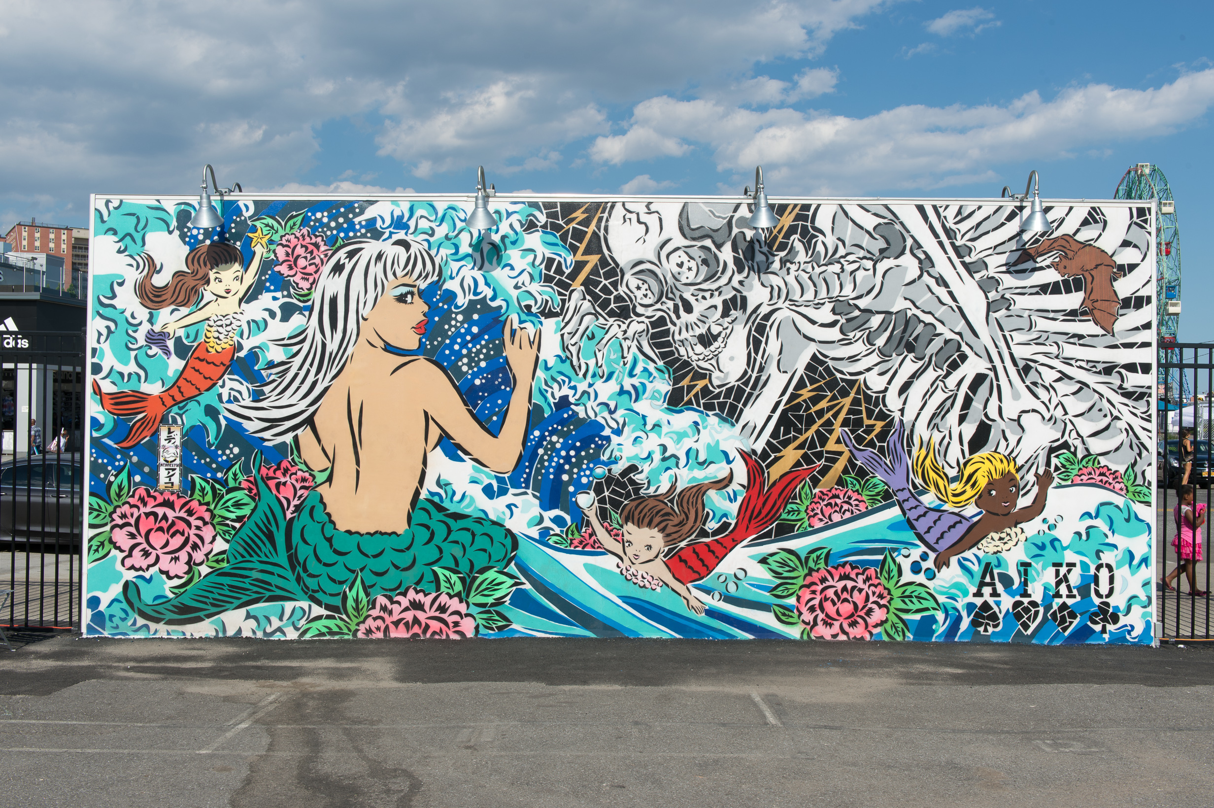 "Lady Aiko, street art mural for ""Coney Island Walls,"" 2015"
