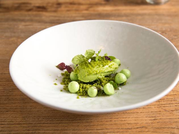 A bowl of sorrel sorbet, lemon basil granita, meringue and green