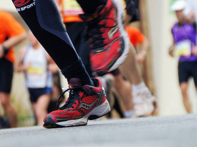 Shoes hitting the pavement in a race