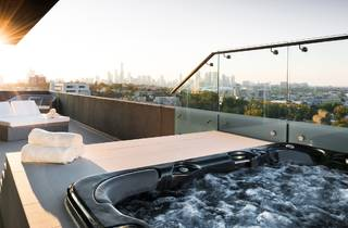 A shot of a spa on the rooftop of The Olsen hotel. The Melbourne