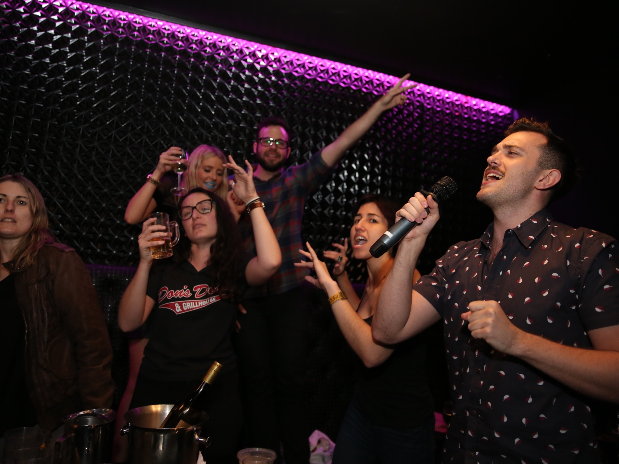 A generic image of a group of people in a karaoke room singing