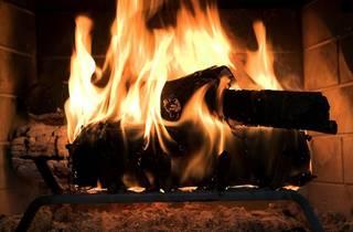 A generic close up fireplace shot
