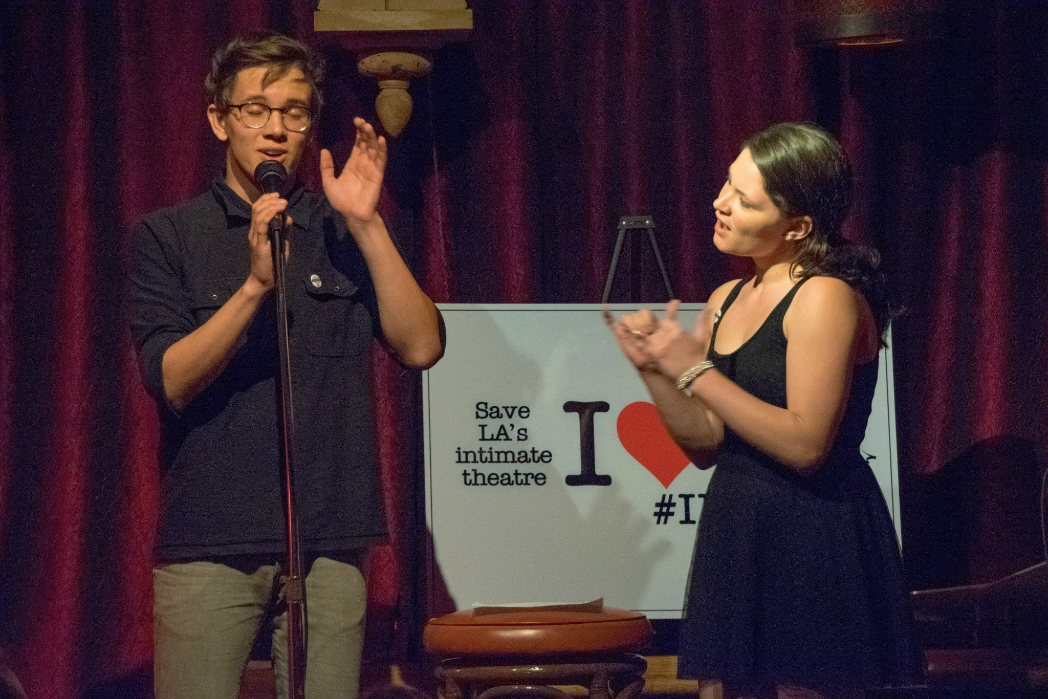 Austin P. McKenzie and Sandra Mae Frank of Deaf West's Spring Awakening perform at I Love 99 The Musical!