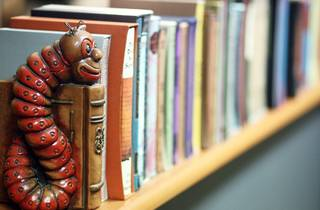 A close up shot of a shelf full of books help up by a ornate boo