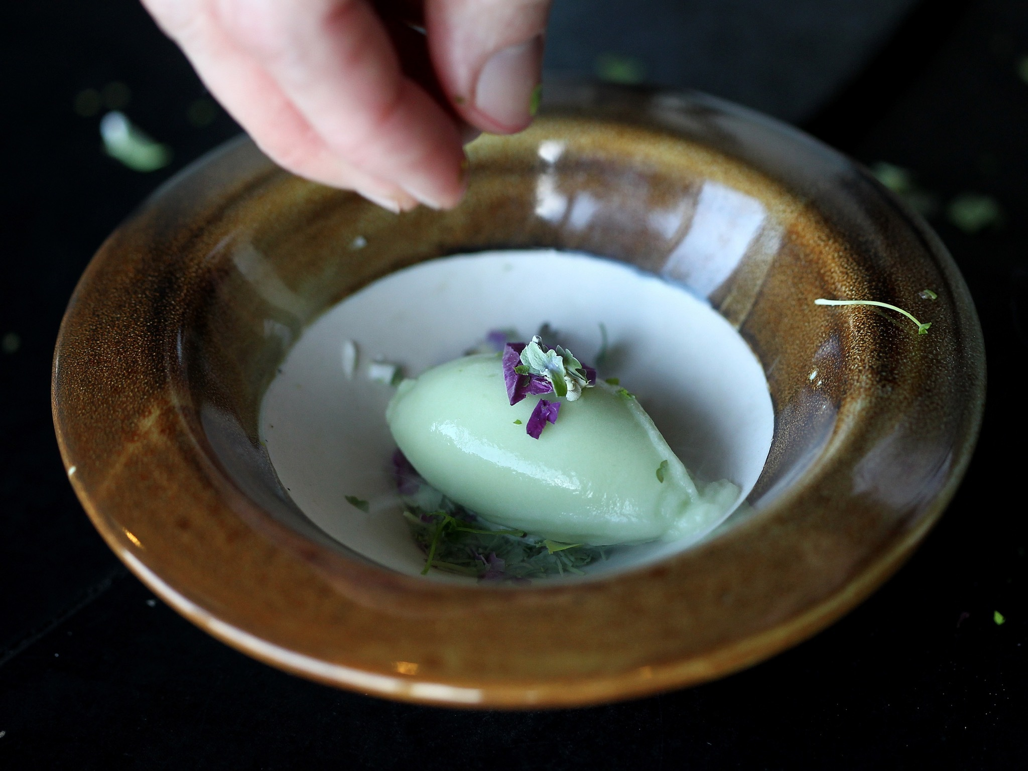 A shot of the liquid nitrogen frozen herbs at Vue De Monde