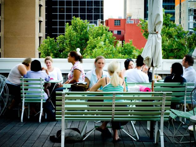 A shot of the rooftop area at Madame Brussels showing a group of
