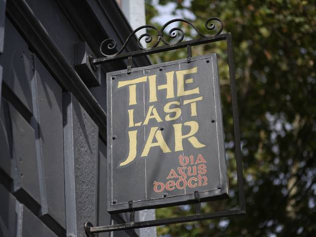 A close up shot of an external sign which reads 'The Last Jar'