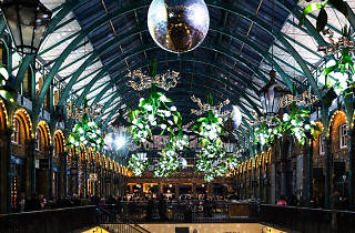 Covent Garden Market Hall with mistletoes decorations at Christmas.