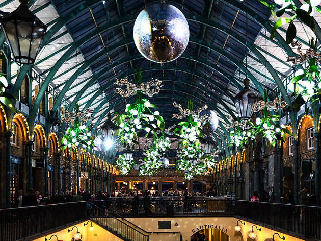 covent garden market hall with mistletoes decorations at christmas - London Christmas Decorations