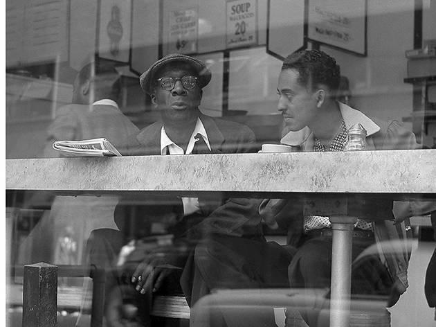 Coffee Shop Conversation Near Times Square by Frank Oscar Larson