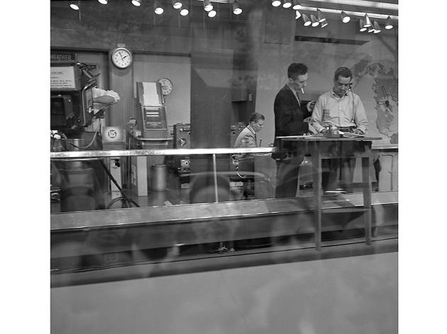 Crowds Reflected in Today Show Window