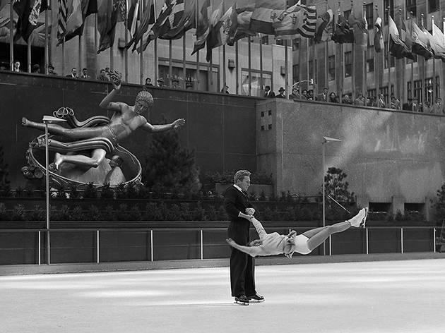 Professional Skaters Execute Turn in Mid-Air, Rockefeller Center Frank Oscar Larson-copy