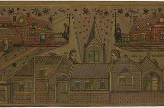 Un couple et des lions, vues panoramiques, between 1949 and 1950 graphite and coloured pencil on wrapping paper coated with oil paint, 47,5 x 85,5 cm
