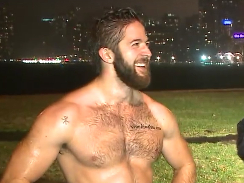 A total hunk takes a shirtless run in December