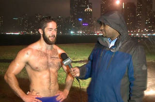 Shirtless runner Ethan Renoe is interviewed on WGN in December