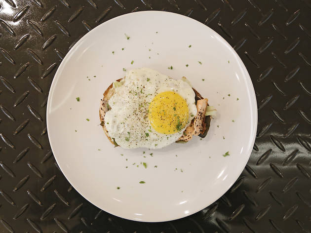 Toast + grilled salmon croque madame + cream cheese + sunny-side-up at Shucked