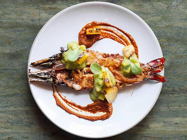 Shrimp with pineapple at Broken Spanish.