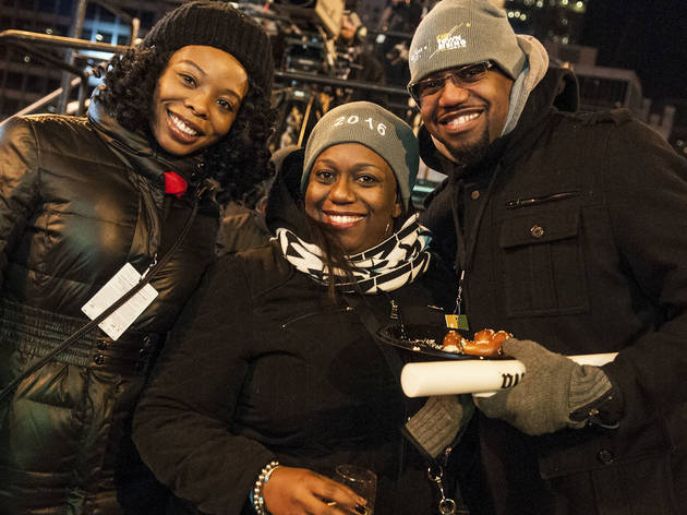 Crowds welcomed the new year with fireworks and music at Chi-Town Rising, December 31, 2015.