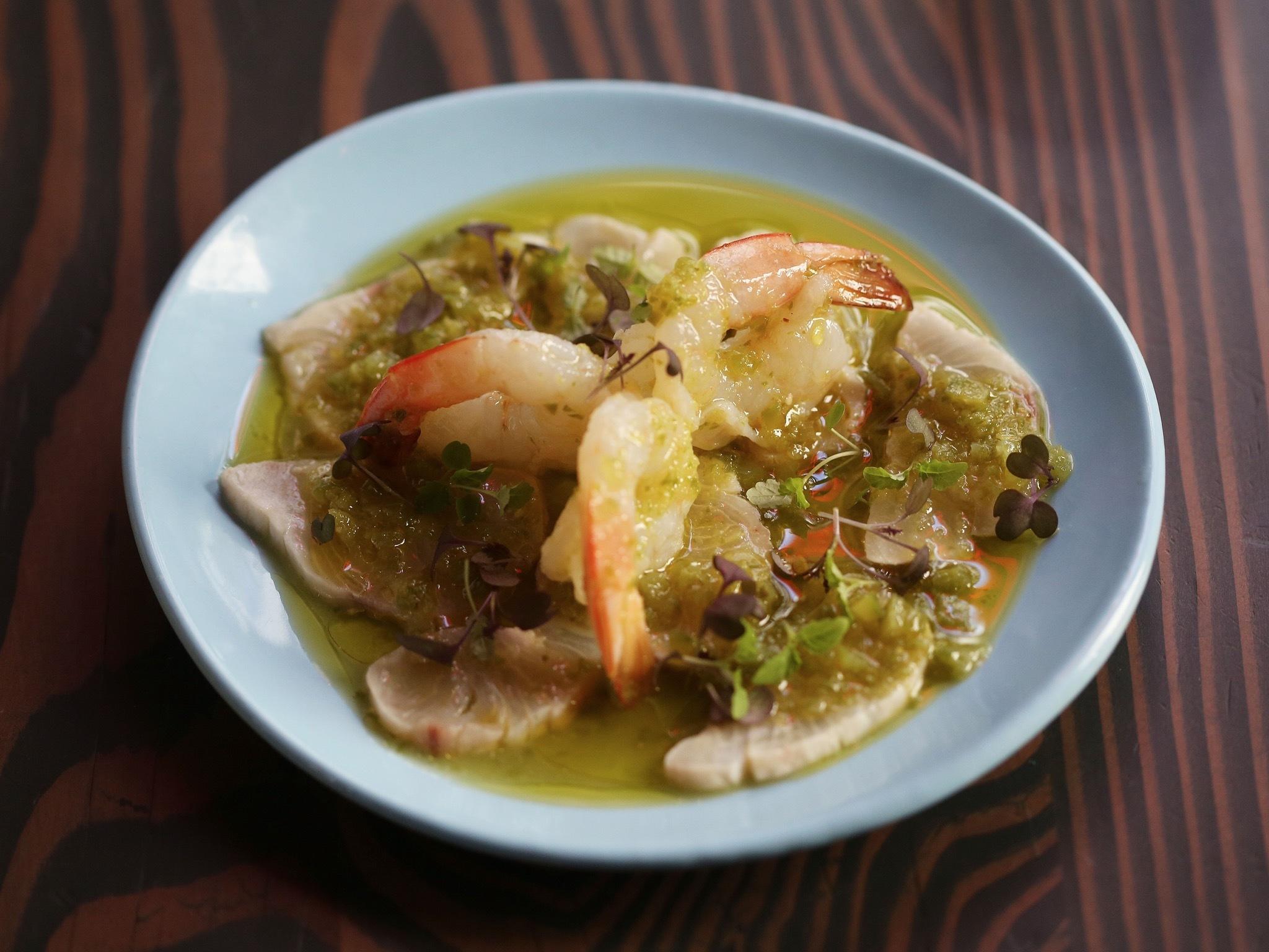 A dish of Green Prawns, Cured Kingfish, Bitter Melon, Lemongrass