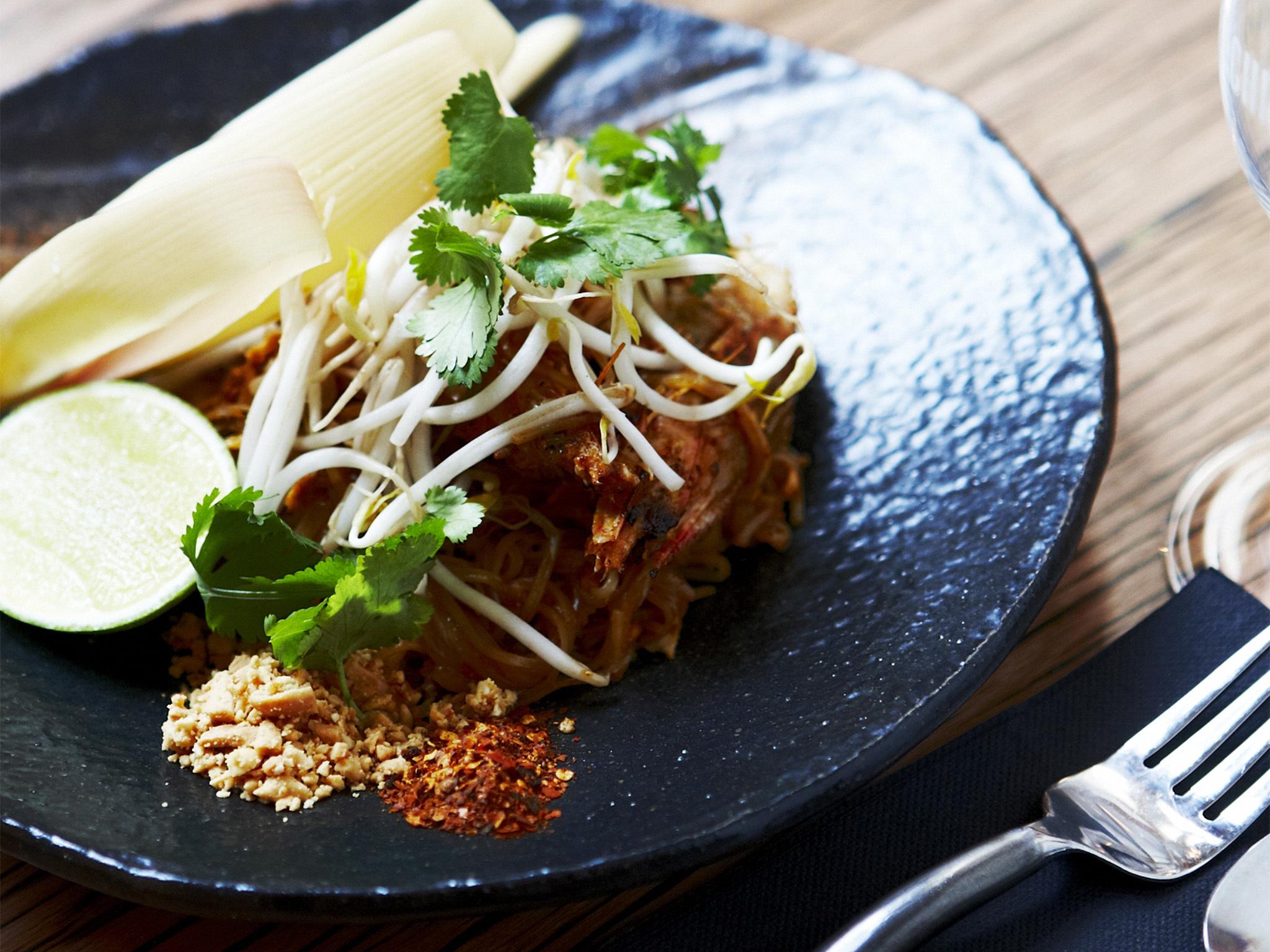 A close up shot of a dish of Pad Thai at Chin Chin