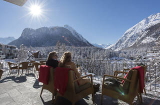 Hotel Saratz, Pontresina, winter terrace