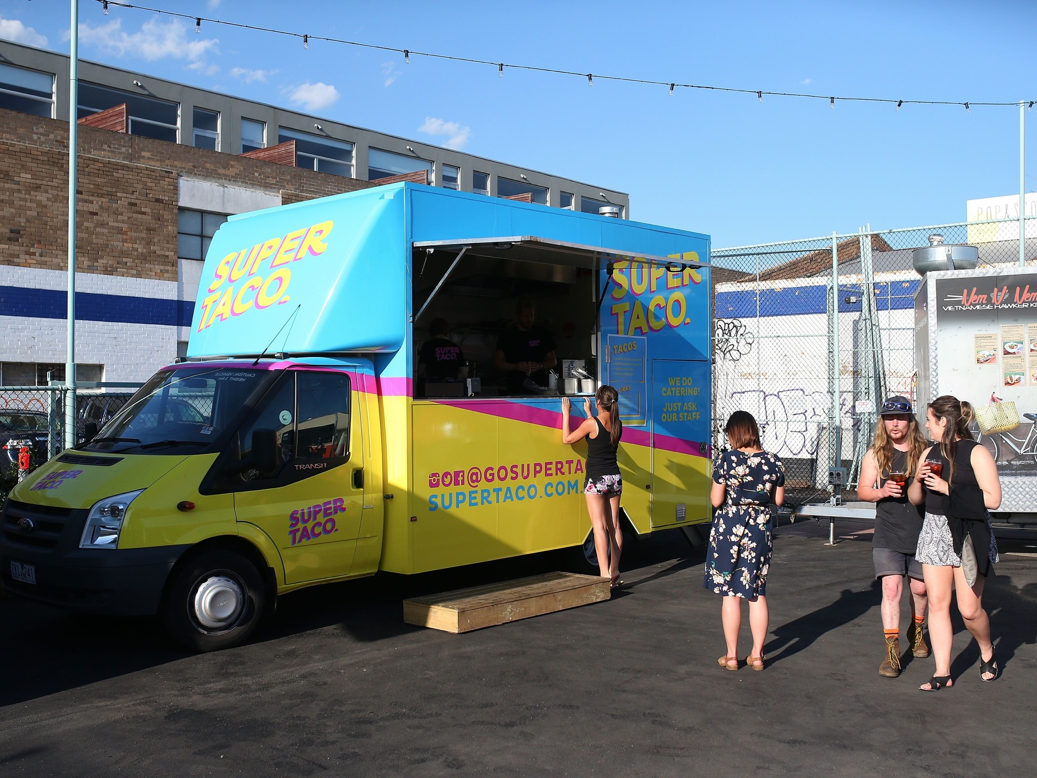 A shot of the Super Taco food van parked at Welcome to Thornbury