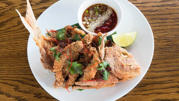 Whole snapper with tamarind sauce