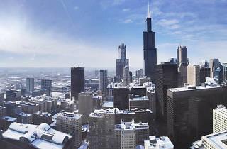 Chicago winter skyline west