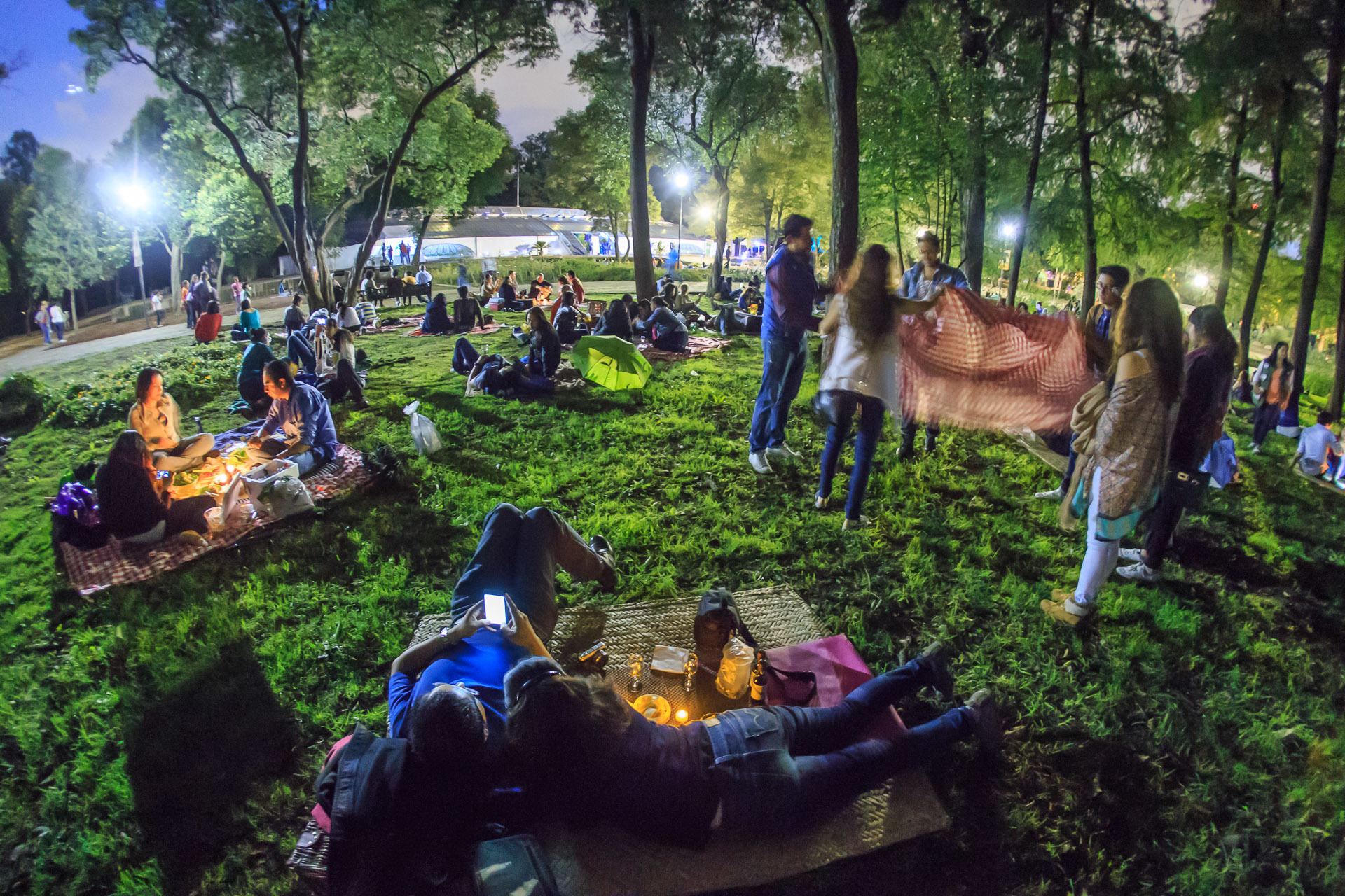 Personas realizando un picnic nocturno en la CDMX