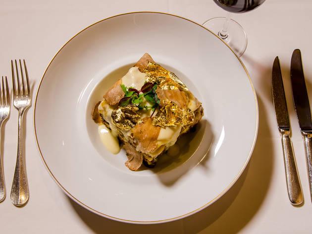 Diamond and gold lasagna at Portofino