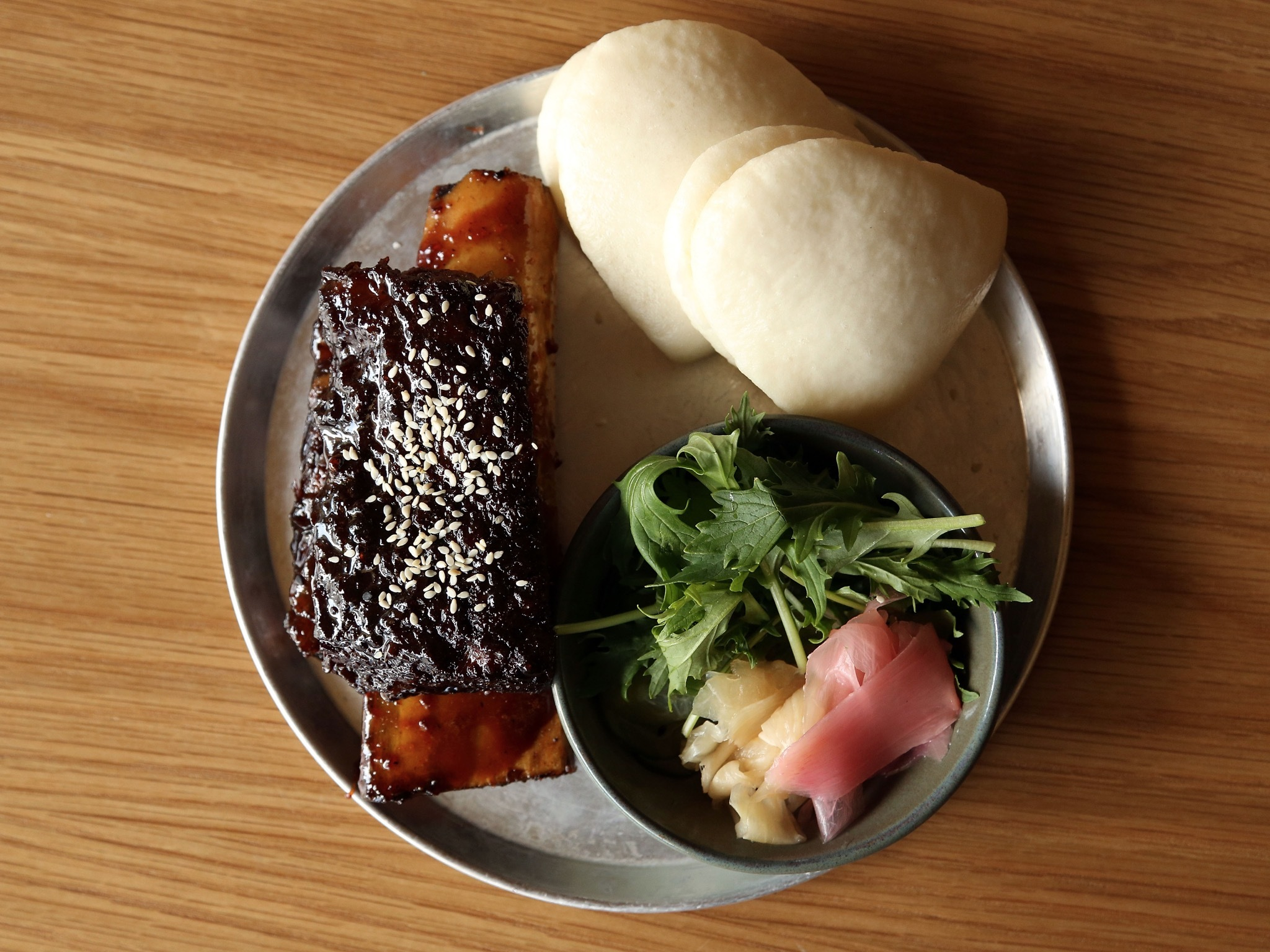 A top down shot of the DIY Beef Rib Bulgogi bao at Tokyo Tina