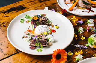 A shot of a poached egg with meat sprinkled with flowers at Circa 1876