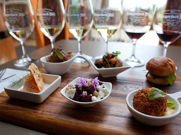 A selection of six tasting dishes paired with six glasses of wine at Hungerford Hill Wines