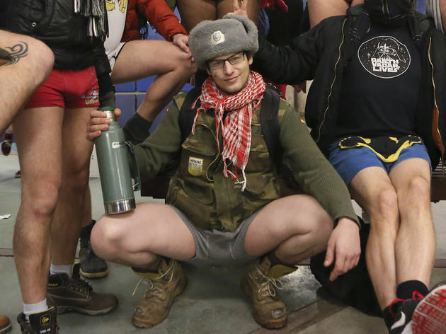Riders showed off their underwear during the No Pants Subway Ride, January 10, 2016.