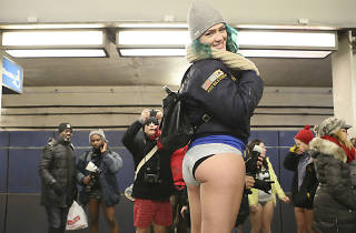 Riders showed off their underwear during the 2016 edition of the No Pants Subway Ride.