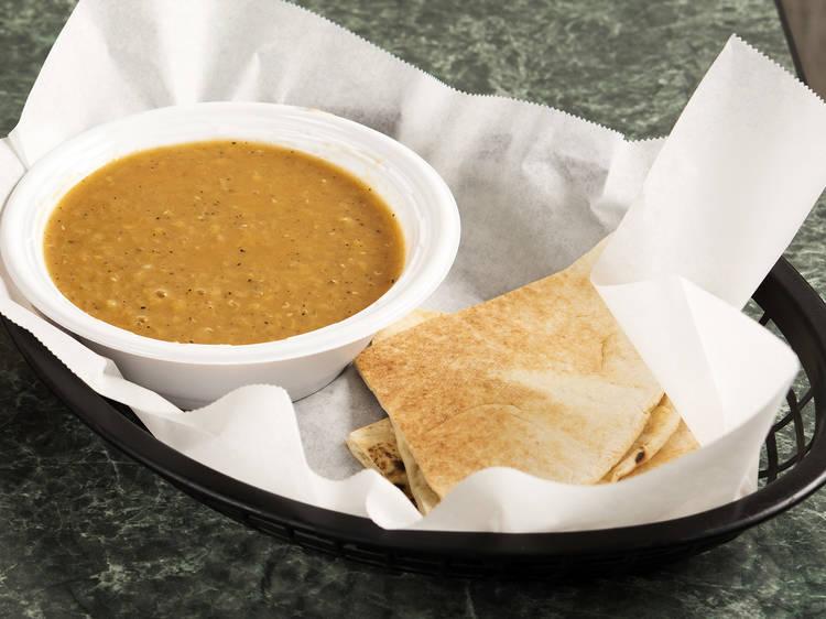 Fresh lentil soup at Taste of Lebanon
