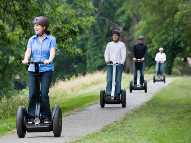 A group of four people on a segway tour of the Hunter Valley
